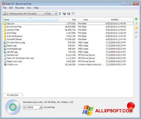 스크린 샷 BurnAware Free Windows XP