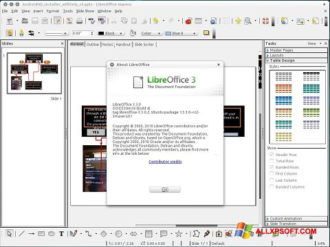 스크린 샷 LibreOffice Windows XP