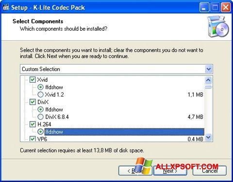 스크린 샷 K-Lite Codec Pack Windows XP
