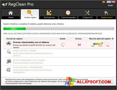 스크린 샷 RegClean Pro Windows XP