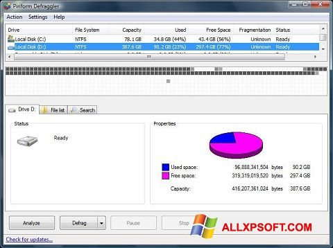 스크린 샷 Defraggler Windows XP