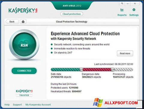스크린 샷 Kaspersky Windows XP