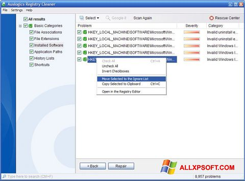 스크린 샷 Auslogics Registry Cleaner Windows XP