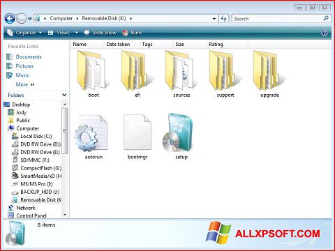스크린 샷 Windows 7 USB DVD Download Tool Windows XP