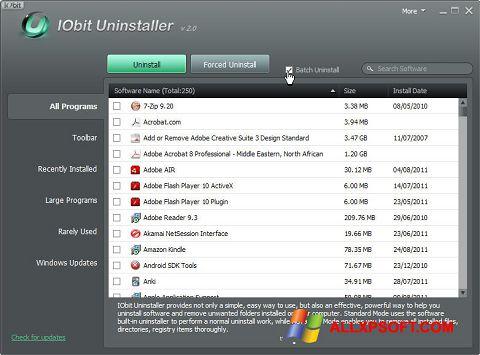 스크린 샷 IObit Uninstaller Windows XP