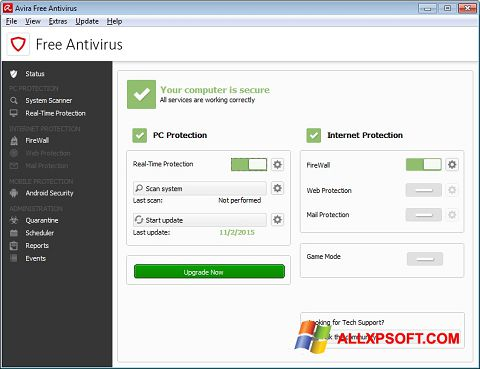 스크린 샷 Avira Free Antivirus Windows XP