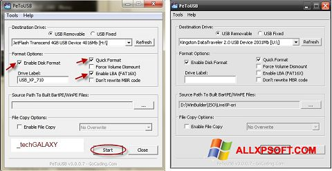 스크린 샷 PeToUSB Windows XP