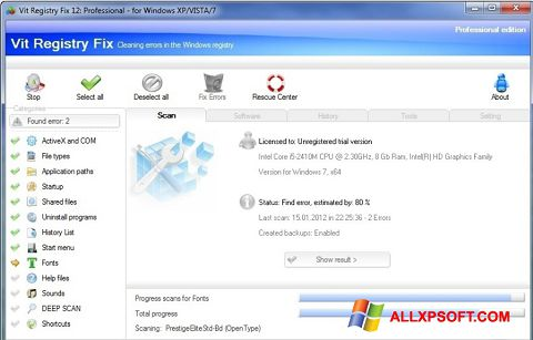 스크린 샷 Vit Registry Fix Windows XP